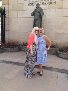 Claire, FaB Host, with Betty, FaB Treasurer outside Moët et Chandon in Epernay