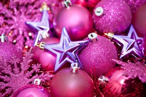 pink glittery christmas stars